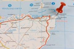 дорога карты o john groats стоковое изображение