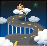 Дорога кривой идя к замку иллюстрация вектора