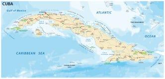 Дорога Кубы и карта вектора национального парка стоковая фотография rf