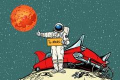 Дорога к Марсу автомобиль сломал вниз в космосе, автостопщике астронавта иллюстрация вектора