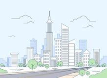 Дорога к современному городскому пейзажу небоскреба вида на город Стоковое Изображение