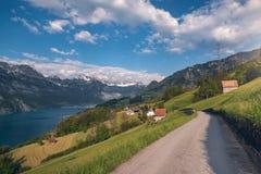 Дорога к швейцарской деревне около озера и Альп стоковые фотографии rf