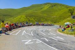 Дорога к Col de Peyresourde - Тур-де-Франс 2014 стоковая фотография