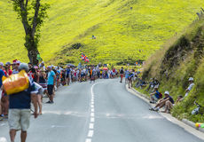 Дорога к Col de Peyresourde - Тур-де-Франс 2014 стоковые изображения
