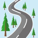 Дорога Лес плоский Стоковая Фотография