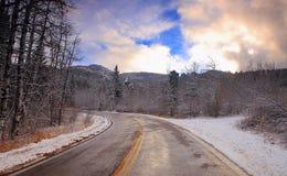 Дорога на заходе солнца Стоковая Фотография RF