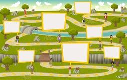 Дорога на зеленом парке с людьми иллюстрация штока