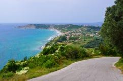 Дорога на острове Корфу, Греции стоковое изображение rf