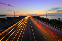 Дорога ночи - шоссе Стоковое Фото