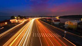 Дорога ночи - шоссе Стоковые Фотографии RF