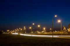 Дорога около фабрики на ноче Стоковое фото RF