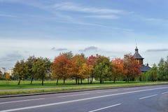 Дорога Осень Церковь Стоковые Фотографии RF