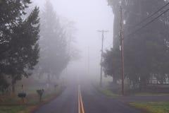 Дорога отступая в туман Стоковые Изображения
