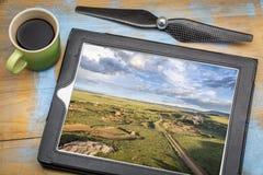 Дорога прерии - концепция воздушного фотографирования Стоковые Фото