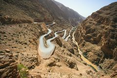 Дорога серпентина долины ущелья Dades Стоковые Фото