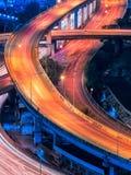 Дорога скоростной дороги в центре Бангкока, Таиланда Скоростная дорога инфраструктура для транспорта в большом городе Стоковые Фото
