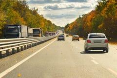 Дорога с автомобилями и деревья осени с желтыми листьями Стоковое Изображение