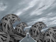 Дорога с волнами шторма бесплатная иллюстрация