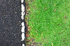 Дорога с зеленой травой Стоковые Изображения RF