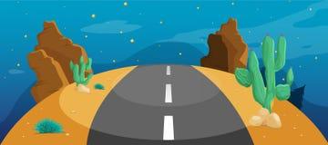 Дорога с кактусом Стоковая Фотография RF