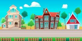 Дорога с домами иллюстрация вектора