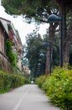 Дорога с уличными фонарями и изгородью в pesaro Стоковая Фотография