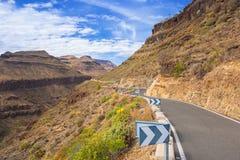 Дорога через горы Gran Canaria Стоковые Фотографии RF