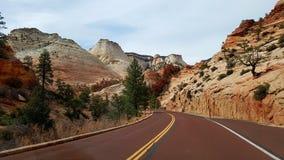 Дорога через каньон Сиона, Юту Стоковые Изображения RF