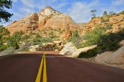 Дорога через национальный парк Сиона Стоковые Изображения