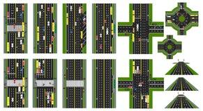 Дорога infographic Комплект мест дорог, шоссе, улиц Общественный транспорт автомобилей Взгляд сверху хайвея кругово иллюстрация вектора
