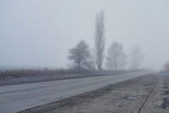 Дорога oncrete ¡ Ð в тумане Стоковая Фотография RF