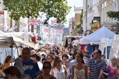 Дорога Portobello уличного рынка Лондона стоковые фото
