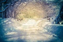 Дорога Snowy стоковые изображения rf