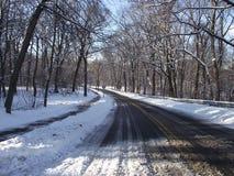 Дорога Snowy Стоковые Фото