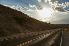 Дорога Val захода солнца Стоковые Изображения