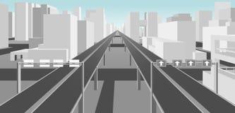 Дороги в самомоднейшем городе иллюстрация вектора