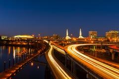 Дороги Портленда на ноче Стоковые Изображения