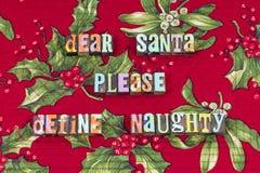 Дорогой santa пожалуйста определяет капризное рождество стоковое фото rf