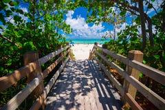 Дорожка к известному южному пляжу, Miami Beach, Флориде Стоковые Фото