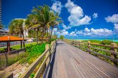 Дорожка к известному южному пляжу, Miami Beach, Флориде Стоковые Фотографии RF