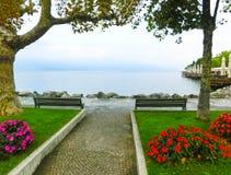 Дорожка на береге, озере Garda, Италии, Европе Стоковое Изображение