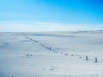 Дорожка Snowy с голубым небом во время зимы Стоковая Фотография