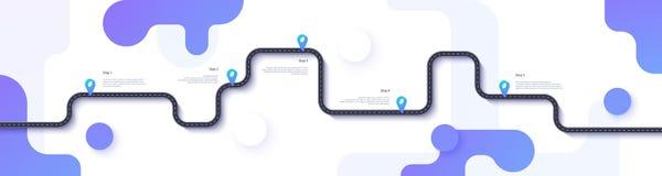 Дорожная карта и шаблон infographics трассы путешествием Иллюстрация временной последовательности по извилистой дороги Плоский ве иллюстрация вектора
