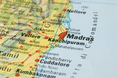 Дорожная карта Мадраса Стоковое Изображение