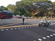 Дорожная полиция в действии Стоковая Фотография