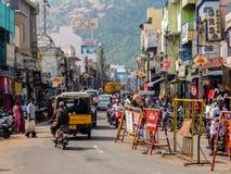 Дорожное движение в Tiruvannamalai Стоковое Фото