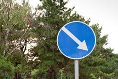 Дорожные знаки, дорожный знак, директория драйва на предпосылке деревьев стоковая фотография