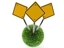 Дорожные знаки на сфере травы Стоковое Фото