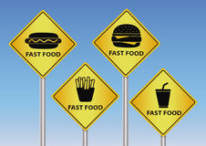 Дорожные знаки фаст-фуда стоковое фото