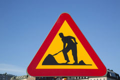 Дорожные работы подписывают внутри городской город Стоковое Изображение